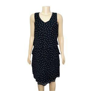 Tahari Layered Dotted Sleeveless Dress Black